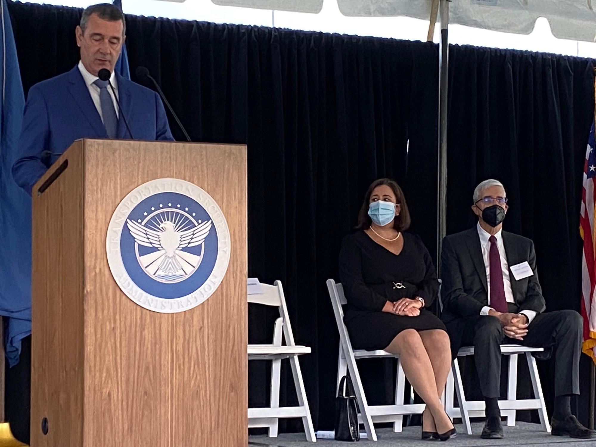 TSA Administrator David Pekoske gives remarks commemorating the 20th anniversary of the Sept. 11, 2001, terrorist attacks. (TSA photo)