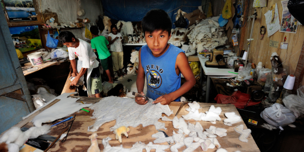 A young boy works with wool, making soft toys in a small, crowded sewing room.