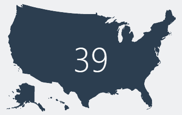u.s. map with the number 39 overlaid